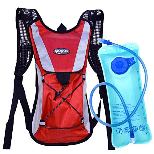 MOSOS Cycling Hydration Pack Water Backpack Hiking Climbing Pouch with 2L Hydration Bladder Red by