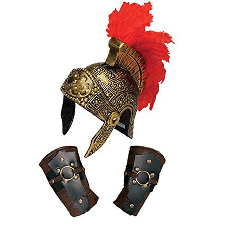 Roman Centurion Feather Crest Helmet & Arm Guards Costume - Roman Centurion Helmet