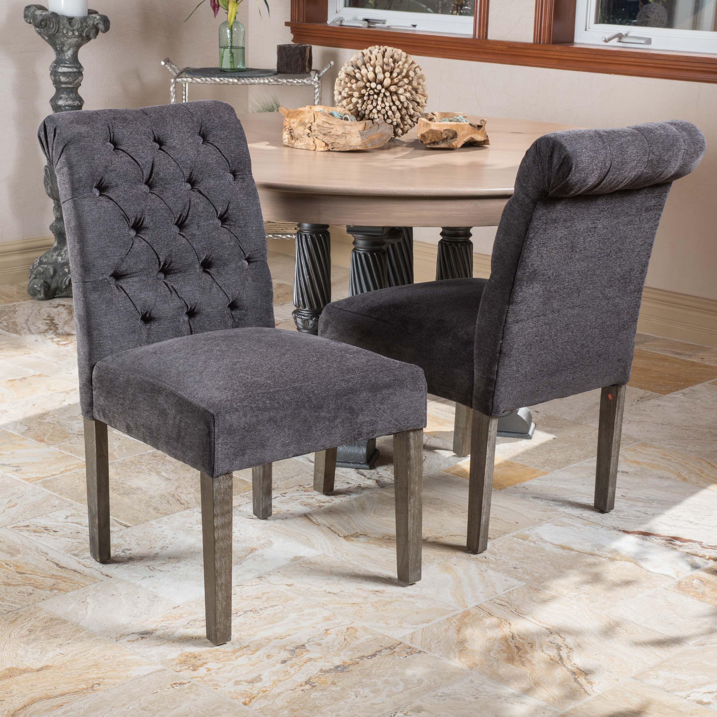 Grey Dining Room Chairs: Lillard Dark Grey Dining Chairs (Set Of 2)