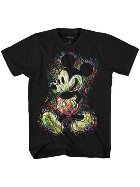 Disney Mickey Mouse Scribbles Disneyland World Tee Funny Humor Adult Mens Graphic T-Shirt Apparel