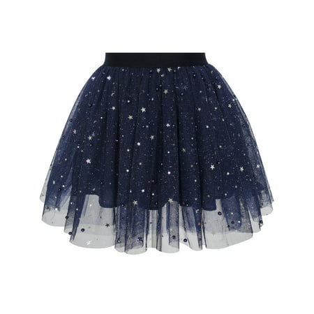 Girls Skirt Navy Blue Pearl Stars Sparkling Tutu Dancing (80's Fashion Tutu Skirts)