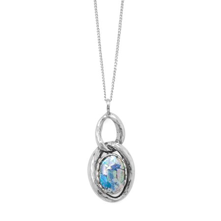 Roman Glass Necklace Double Oval Link Drop Sterling Silver