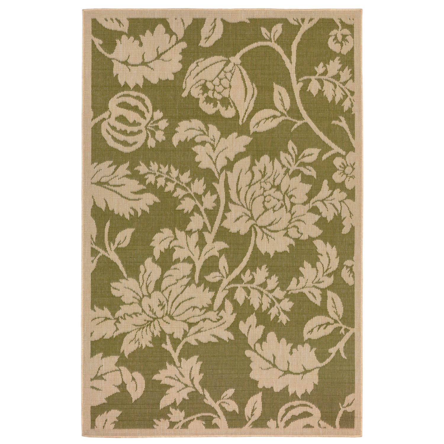 """Terrace Floral Rug-Color:Green,Size:9'10""""Lx7'10""""Wx0.125""""H"""