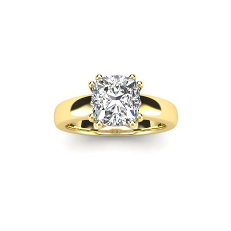 1 Carat Cushion Diamond Solitaire Engagement Ring in 14 Karat Yellow Gold - White I-J