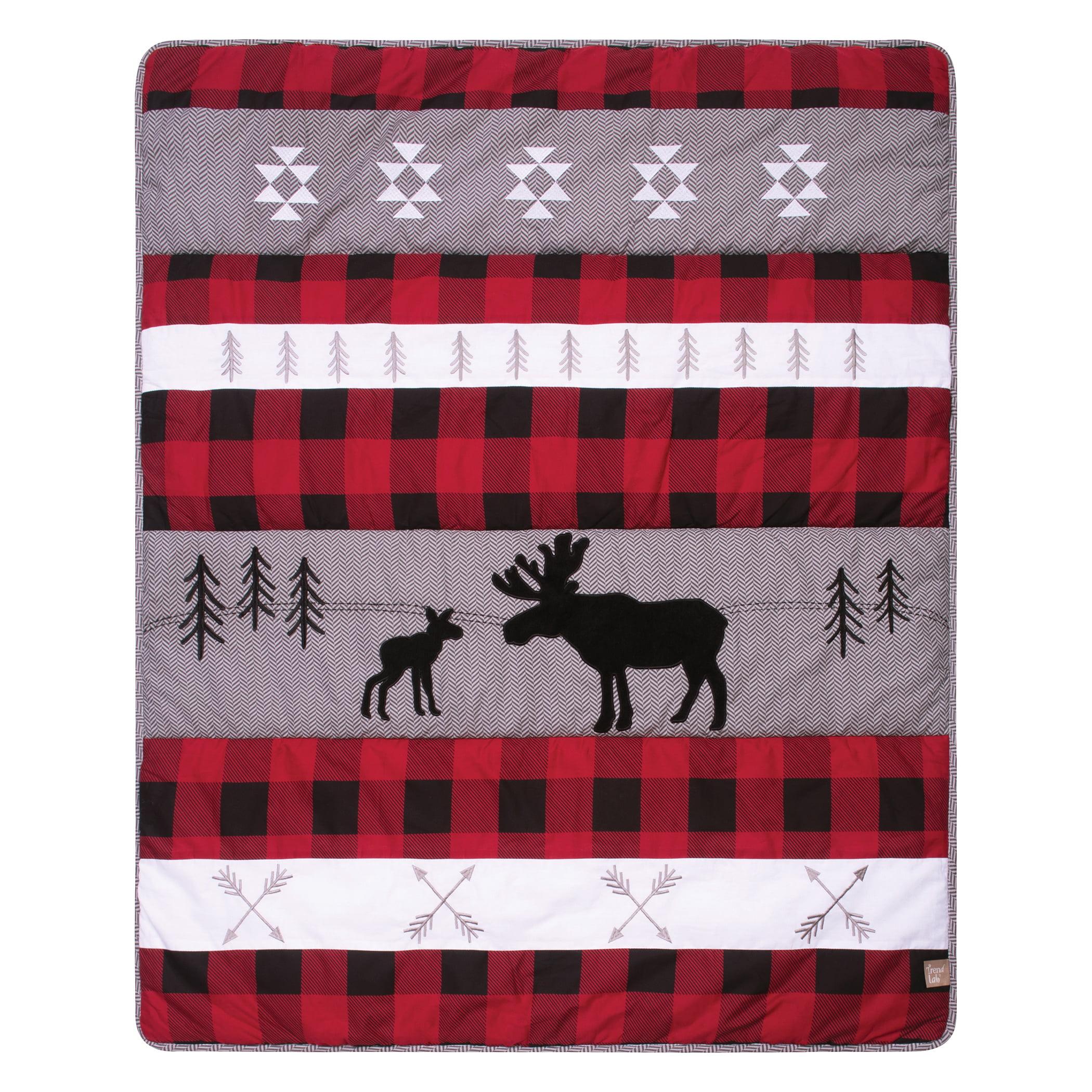 Lumberjack Moose 3 Piece Crib Bedding Set Multi Color Animal Print Neutral Animals Cotton