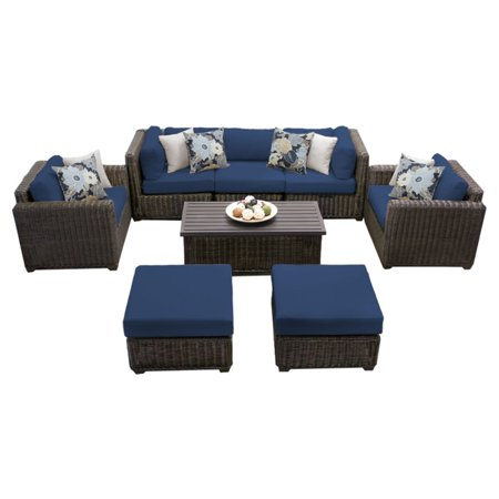 - Venice Wicker 8 Piece Patio Conversation Set with Ottoman and 2 Sets of Cushion Covers