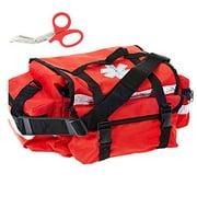 First Aid Responder EMS Emergency Medical Trauma Bag + Matching EMT Shear (Red)