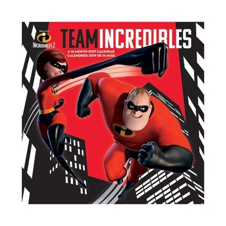 Team Incredibles 16 Month 2019 Wall Calendar Disney Pixar 2  Gift