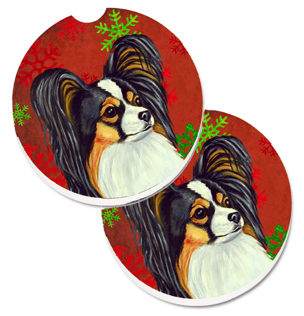 Papillon Red and Green Snowflakes Holiday Christmas Set of 2 Cup Holder Car Coasters LH9345CARC