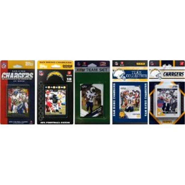 C & I Collectables CHARGERS511TS NFL San Diego Chargers 5 Different Licensed Trading Card Team Sets