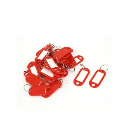 Unique Bargains 30 Pcs Metal Split Ring Plastic Key ID Name Label Keyring Keychain Red (Clear Plastic Keychains)