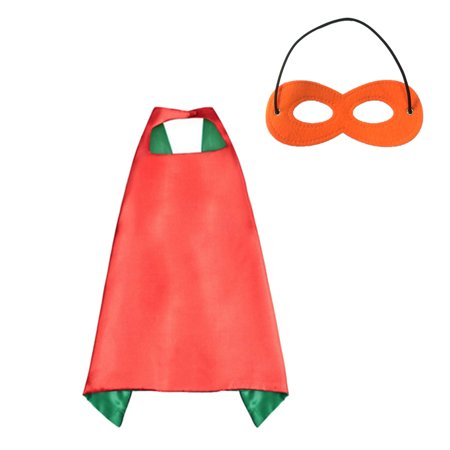 Muka Kids Superhero or Princess Cape and Mask Set Halloween Costume, 27.5 In-Green/Red-1 pcs