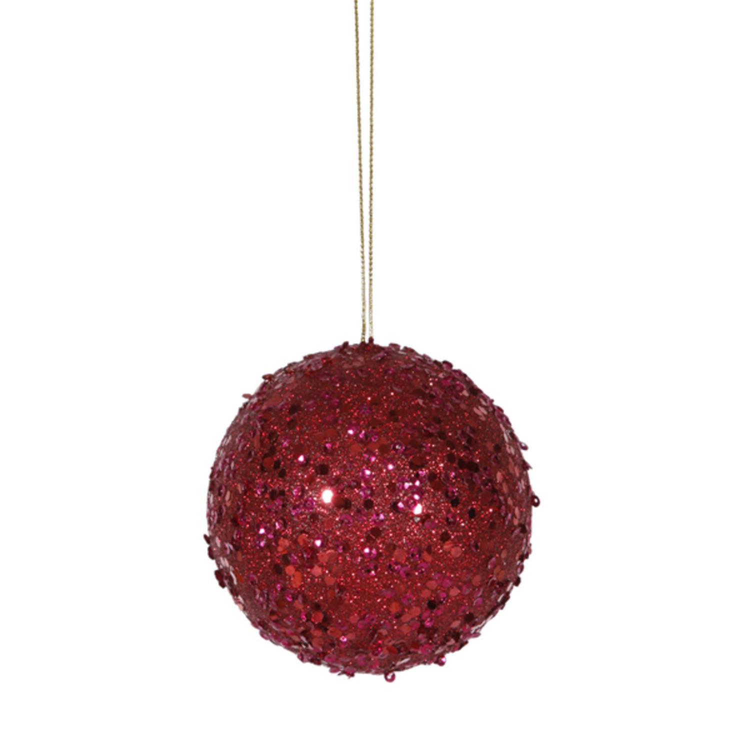 Fancy Deep Red Holographic Glitter Drenched Christmas Ball Ornament 3""