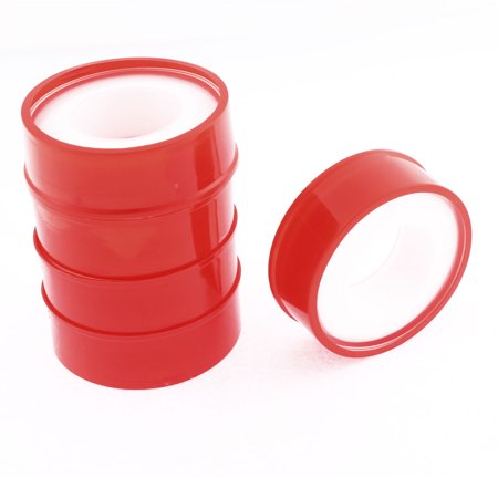 Unique Bargains Water Pipe Air Hose Plumbers Thread Sealant 15mm Width PTFE Tape White Red 5 Pcs - image 1 of 1