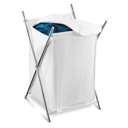 Honey Can Do Folding Hamper with Cloth Lid and Steel X-Frame,