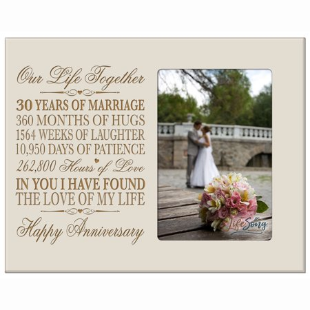 30th Year Anniversary Engraved Picture Frame - Our Life Together - Holds 4x6 (30th Anniversary Frame)