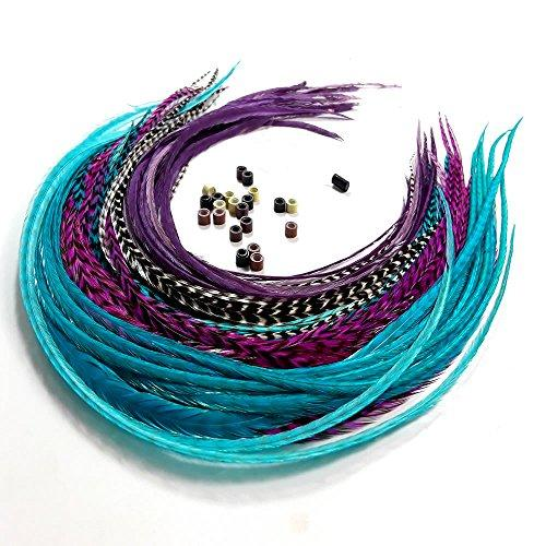 Sexy Sparkles Feather Hair Extensions, 100% Real Rooster Feathers, Long Violet, Purple, Blue Colors, 20 Feathers with 20 Beads and Loop Tool Kit