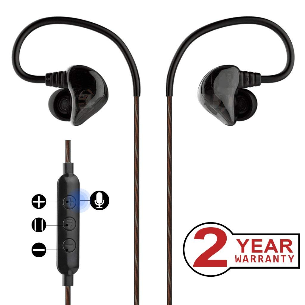 [2018 Version] Avantree DUAL DRIVER High Definition In Ear Monitor Earphones, Heavy Bass, Sports Earbuds, Noise isolating headphones with Mic & Music Track - D18P
