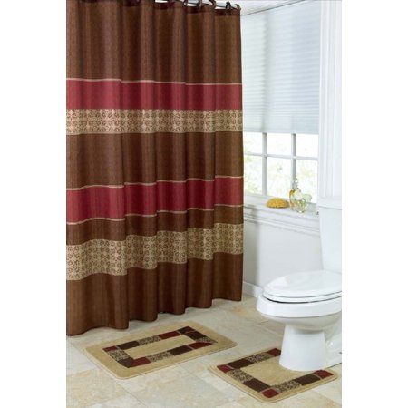 maroon shower curtain set. 15 Piece Bath set  2 Taupe Brown Burgundy Bathroom Mats 1 Matching Shower Curtain