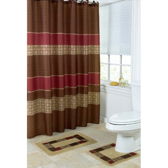 Red brown and white shower curtain curtain menzilperde net for Red and brown bathroom sets