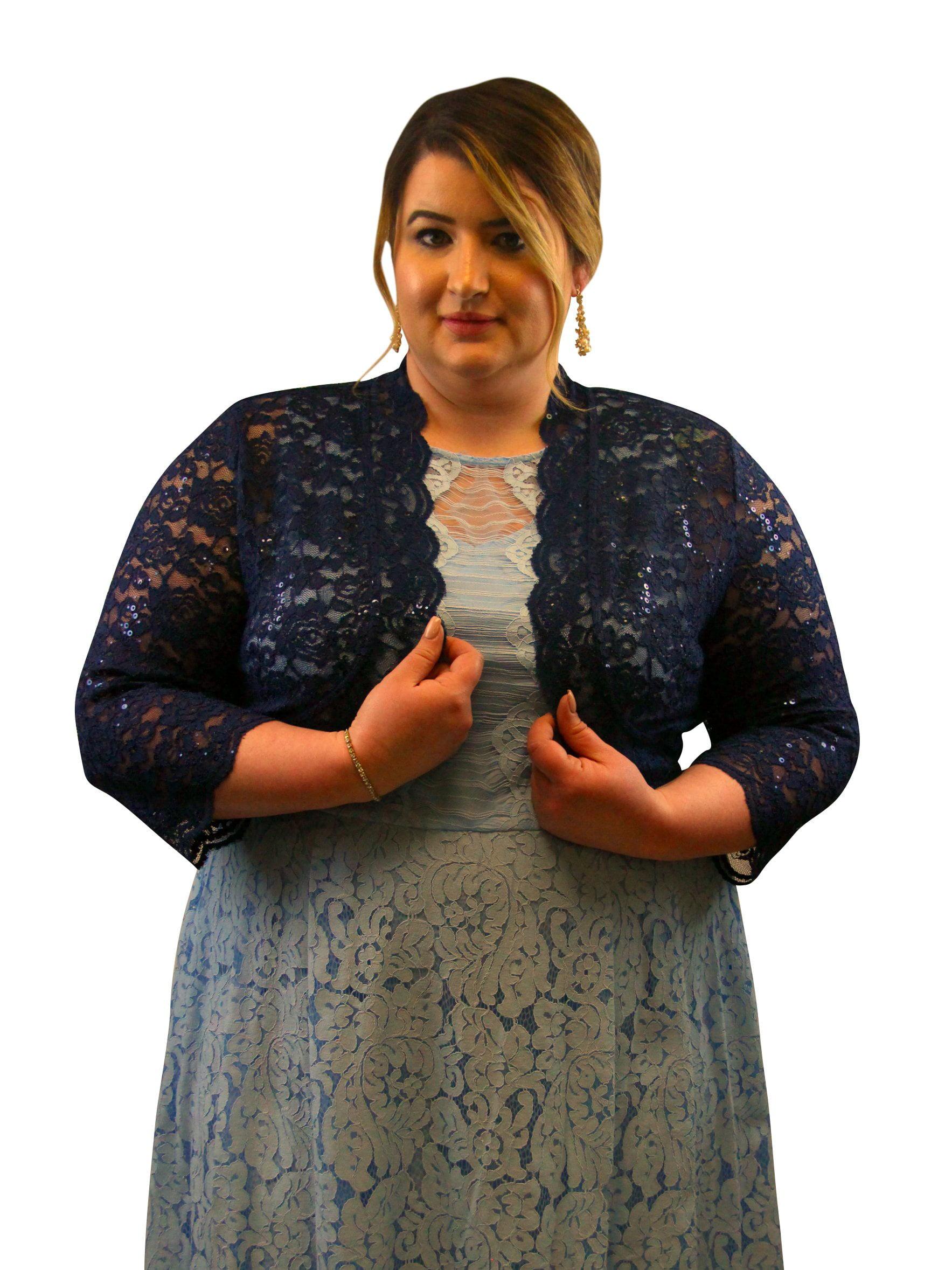 SleekTrends Plus Size Women Elbow Sleeve Sequin Lace Bolero Jacket - Dressy  Shrug