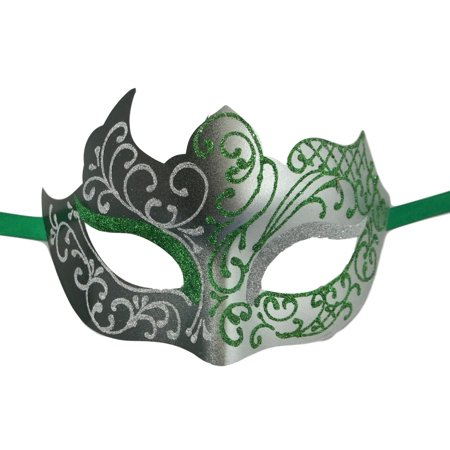 Green Silver Unique Mardi Gras Masquerade Prom Mask - Unique Masks