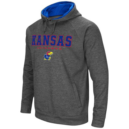 Kansas Jayhawks Mat - Mens NCAA Kansas Jayhawks Heather Charcoal Pull-over Hoodie