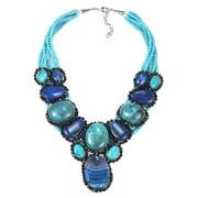 Aeravida Handmade Mystique Blue Treasure Mosaic Oval Agate Statement Necklace (Thailand)
