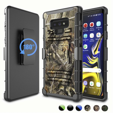 Galaxy Note 9 Case, Samsung Note 9 Case Holster, Note 9 Clip, Njjex Ultra Protective Heavy Duty Case with Holster Belt Clip + Built-in Kickstand For Samsung Galaxy Note 9 (2018) - Leaf