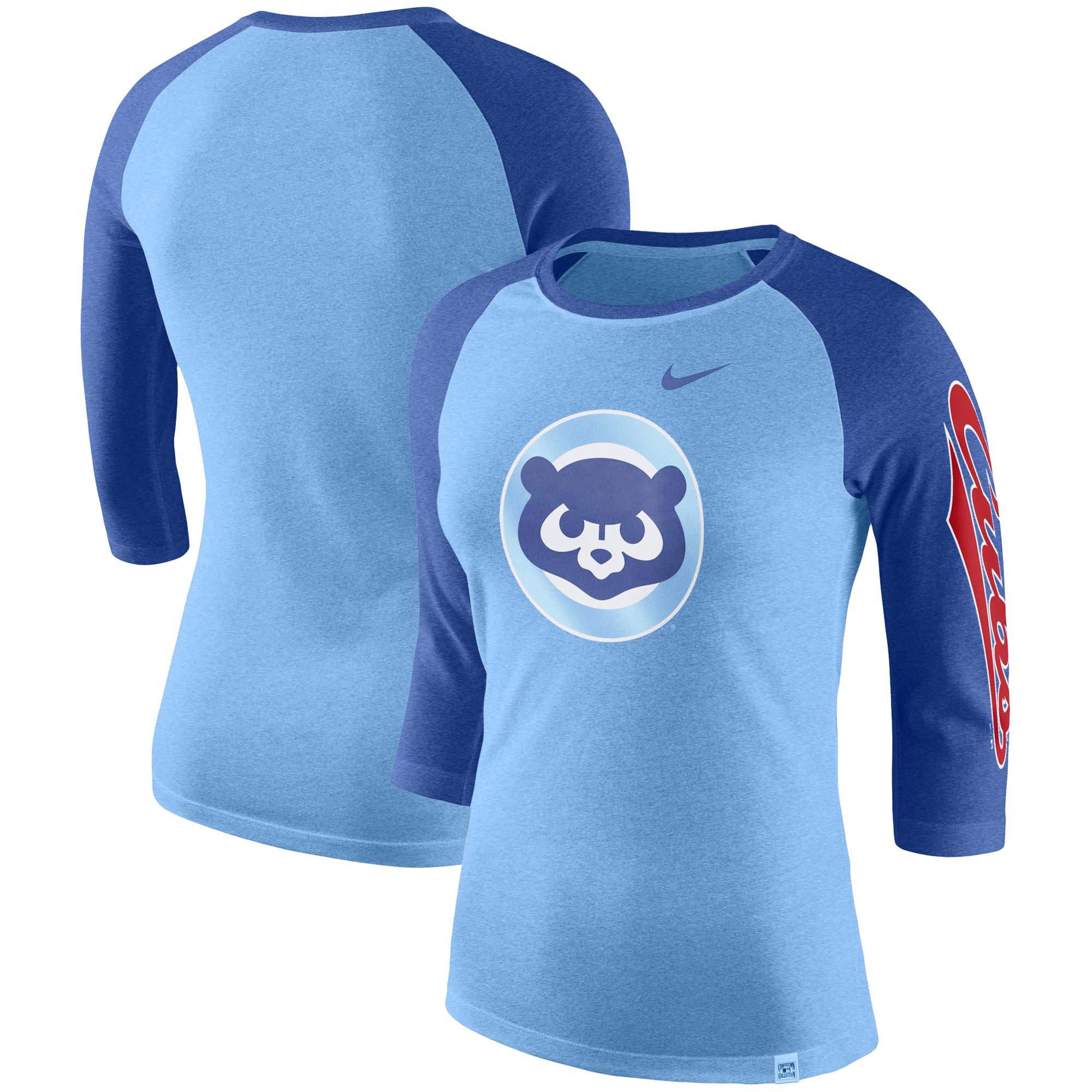 Chicago Cubs Nike Women's Vintage Logo Tri-Blend 3/4-Sleeve Raglan T-Shirt - Royal