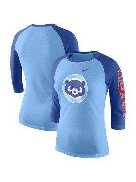Chicago Cubs Nike Women's Vintage Logo Tri-Blend 3/4-Sleeve Raglan T-Shirt - Royal
