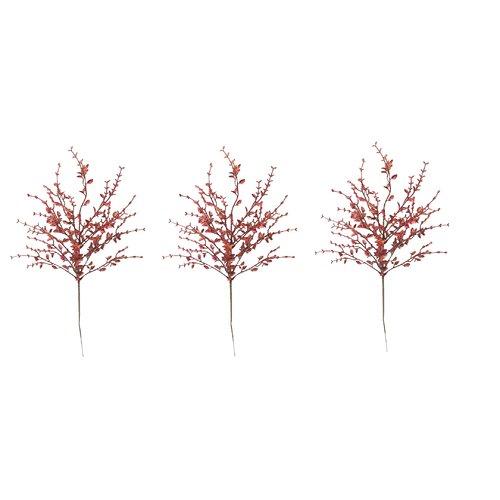 Admired by Nature Glitter Tea Leaf Christmas Stem (Set of 3)