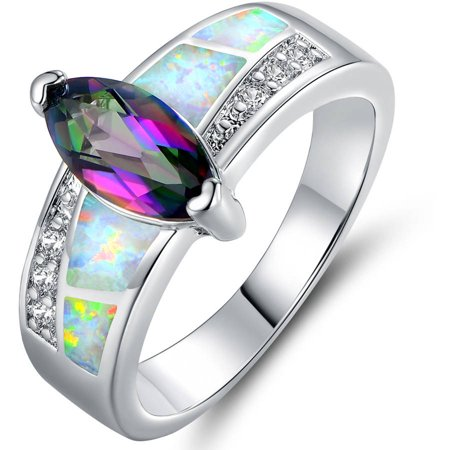 Lab Created Opal and Genuine Oval-Cut Mystic 18kt White Gold-Plated Ring
