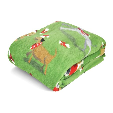 Mainstays Cozy Plush Fleece Throw Blanket, Holiday Dogs