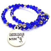 Chubby Chico Charms Cheerleader Mom Bicone Crystal Wrap Bracelet in Sapphire Blue