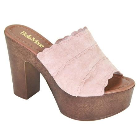 f37a202ec93 Stripe-2 Women Clogs Mules Open Toe Chunky Block Heel Platform Slip On Pink