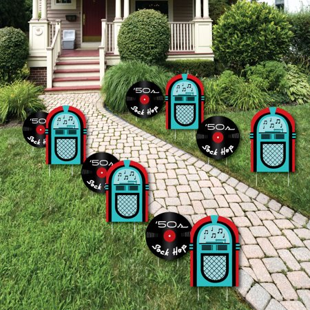 50's Sock Hop - Jukebox and Record Lawn Decorations - Outdoor 1950s Rock N Roll Party Yard Decorations - 10 Piece - 50s Sock Hop Decorations