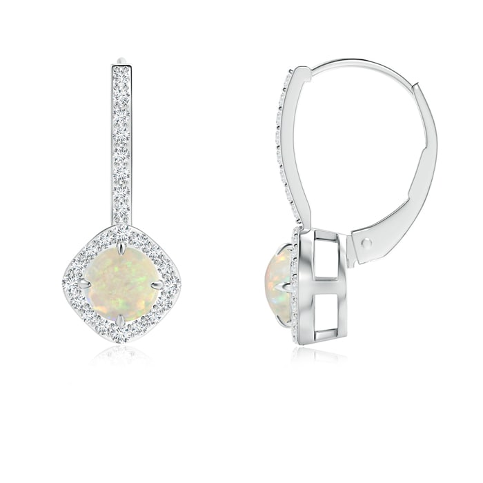 Angara 5mm Opal Claw Set Diamond Halo Opal Leverback Earrings in Platinum, October Birthstone by Angara.com