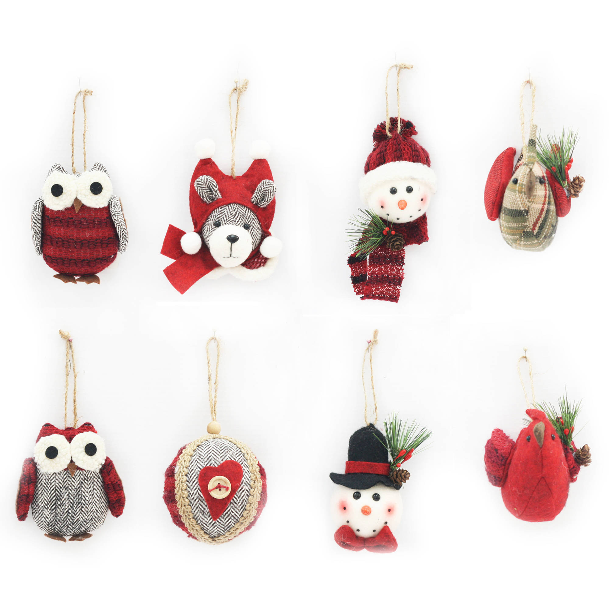 Holiday Time Multi-Color Plush Ornaments, Set of 8