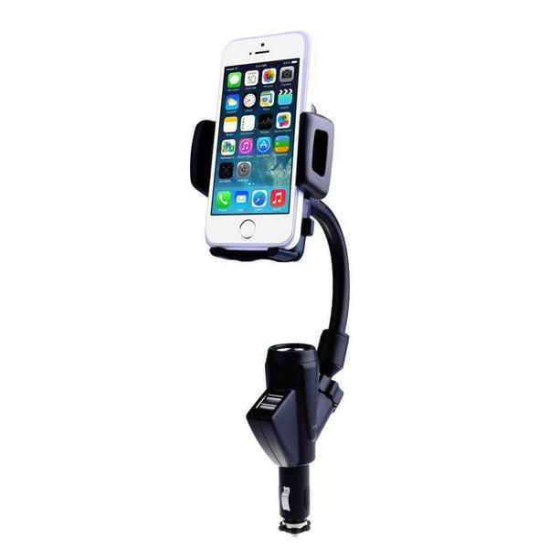 Dual 2 USB Car Charger Cradle Mount Holder Stand Cigarette Lighter
