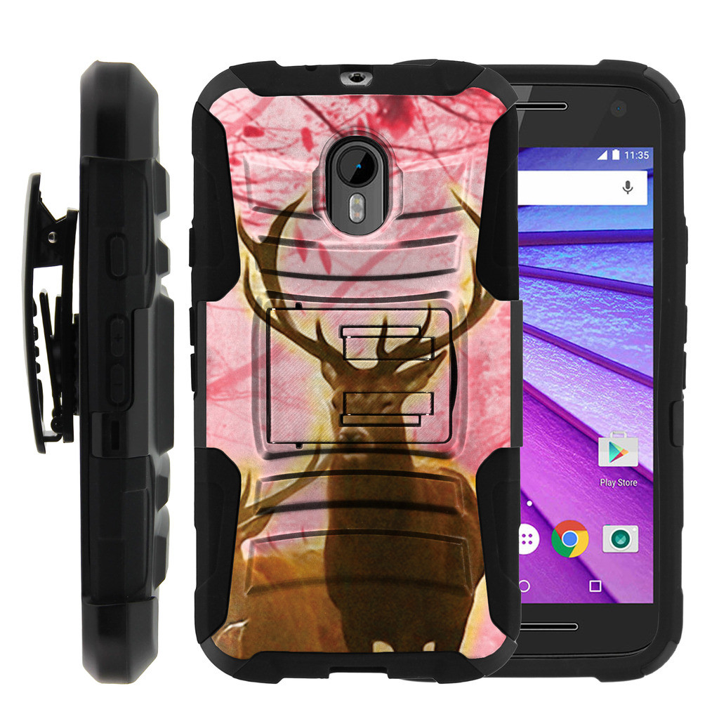 new arrival cfcf0 09cc8 Motorola Moto G 3rd Gen Case | Moto G3 Case [ Clip Armor ] Rugged Impact  Defense Case with Built in Kickstand and Belt Clip - Pink Deer Stag