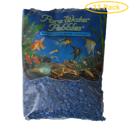 Pure Water Pebbles Aquarium Gravel - Marine Blue 5 lbs (3.1-6.3 mm Grain) - Pack of 12