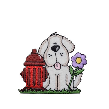 - Puppy Dog with Fire Hydrant Iron on Embroidered Patch