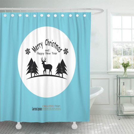PKNMT Animal Raindeer with Merry Christmas and Happy New Year Antler Beautiful Deer Bathroom Shower Curtains 60x72 inch (Resin Deer Antlers)