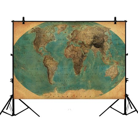 GCKG 7x5ft Vintage Style World Map Pattern Polyester Photography Backdrop Studio Photo Props Background - Mlp Background