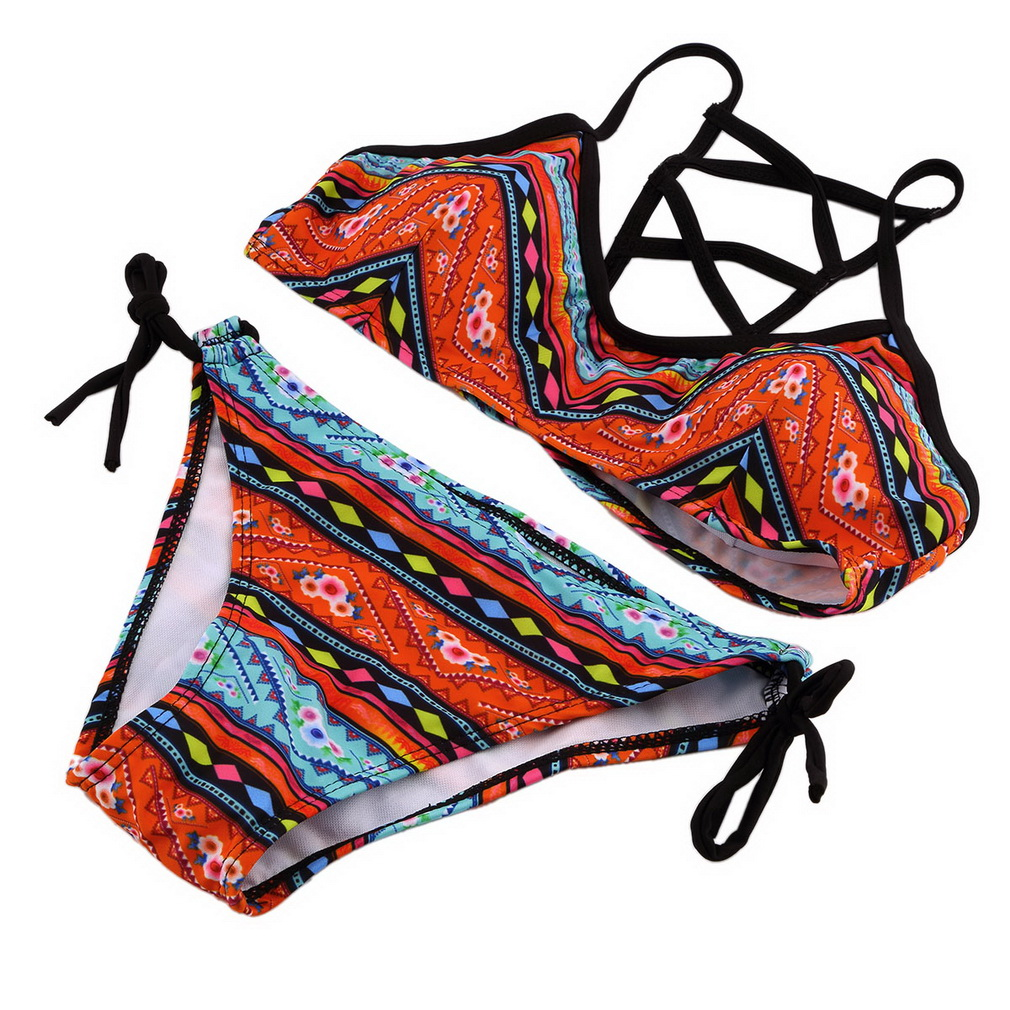 Hot Sale Women Sexy Bandeau Bikini Set Push-Up Bra Swimsuit Retro Beachwear Swimwear, Multi-Colored