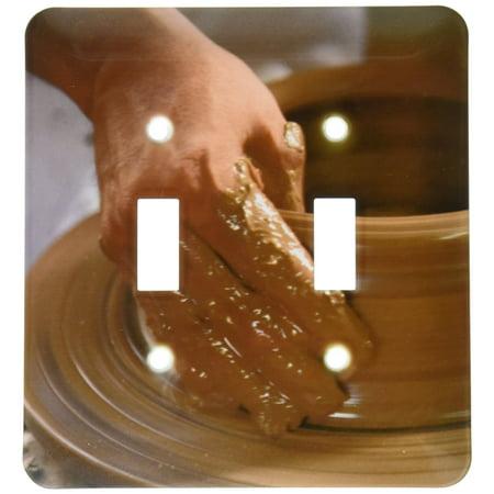 3dRose Nicaragua, Catarina. Pottery wheel and clay - SA14 JME0127 - John and Lisa Merrill, Double Toggle Switch