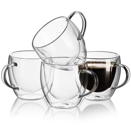 - JECOBI Cozy Double Wall Glass Tea Cups Extra-Strong 8.oz (Set of 4) Espresso Cups | Coffee Mugs
