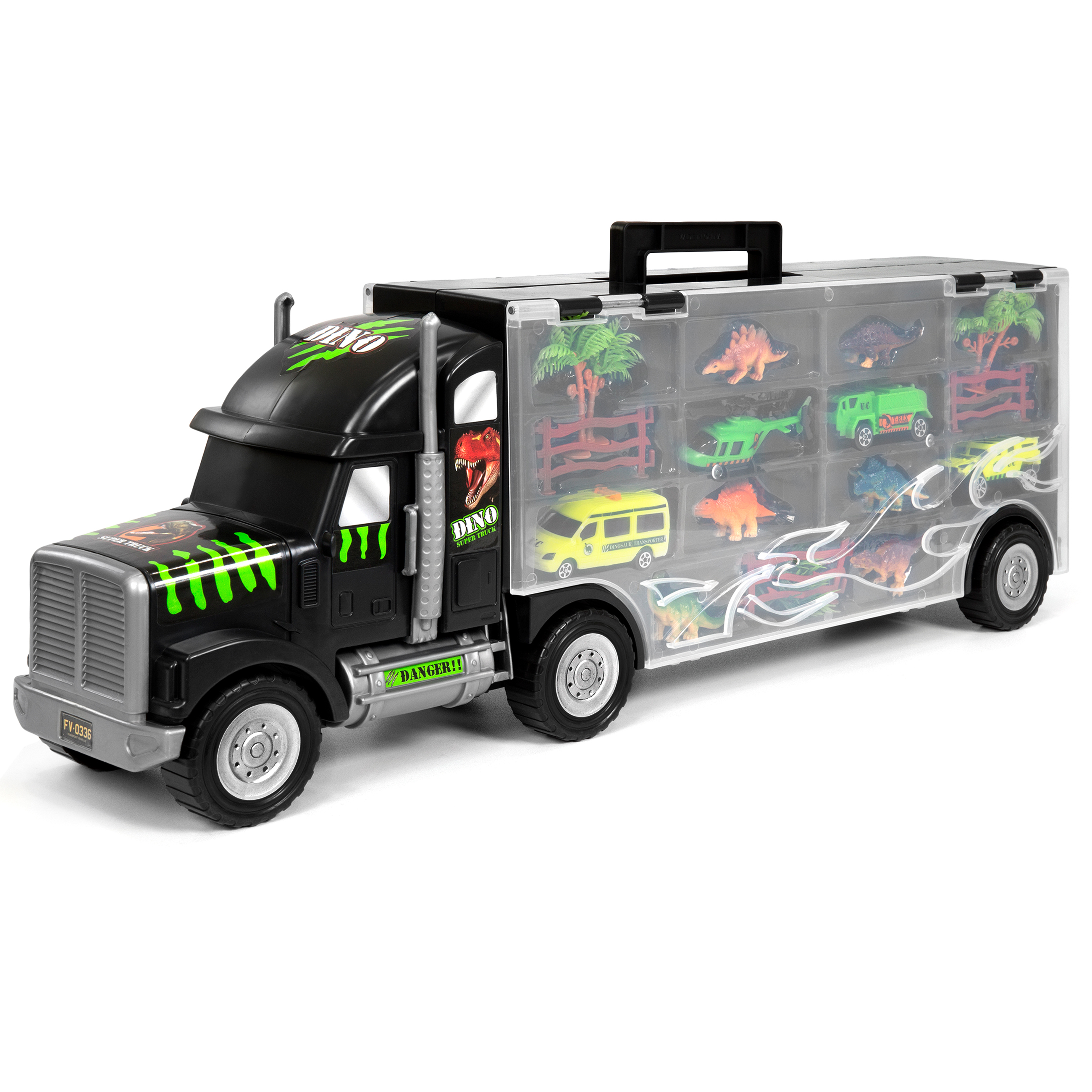 "Best Choice Products 22"" 16-Piece Kids Giant Transport Carrier Semi Truck Car W/ Dinosaur Figures Helicopter Jeep Cars"