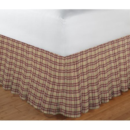 Image of Patch Magic Tan And Red Plaid Fabric Dust Ruffle Twin